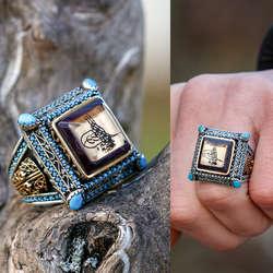 ALA Serisi | Katalin Üzerine Tuğra Tasarım Gümüş Yüzük