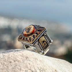 ALA Serisi | Özel Tasarım Osmanlı Çatı Modeli Gümüş Yüzük
