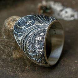 Ay Yıldız İşlemeli Erzurum El İşi Gümüş Yüzük