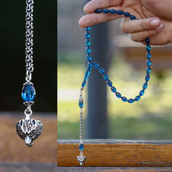 Bozkurt Gümüş Kamçılı Mavi Sıkma Kehribar Tesbih