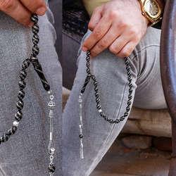 Çift Sıra Çeşmibülbül Gümüş Kakmalı Erzurum Oltu Taşı Tesbih