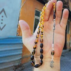 ÇUKUR | Safran Sarısı Sıkma Kehribar Tesbih