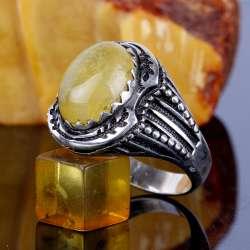 Doğal Damla Kehribar Taşlı Gümüş Yüzük