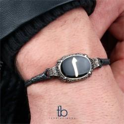Elif Tasarım Siyah Mine Gümüş Örme Kazaz Bileklik