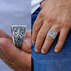 Erzurum Kalemkar Sanatı 925 Ayar Gümüş Yüzük