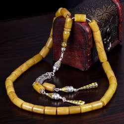 Eskitme Model Damarlı Sıkma Kehribar Sultan Tesbihi