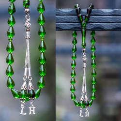 Gözyaşı Kesim Gümüş Harf Kamçılı Sıkma Kehribar Tesbih
