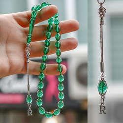 Gümüş Harf Kamçılı Su Yeşili Sıkma Kehribar Tesbih