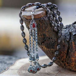 Gümüş İşlemeli Sıkma Kehribar Tesbih