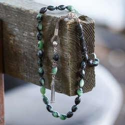 Gümüş Kamçılı Damarlı Yeşil Sıkma Kehribar Tesbih