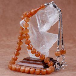 Gümüş Kamçılı Kapsül Kesim Sıkma Kehribar Tesbih