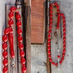 Gümüş Kamçılı Kızıl Sıkma Kehribar Tesbih