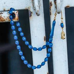 Gümüş Tasarım Mavi Sıkma Kehribar Tesbih