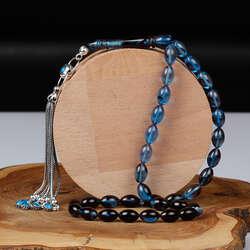 Gümüş Tasarım Renk Geçişli Mavi Sıkma Kehribar Tesbih