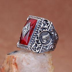 Kırmızı Sıkma Kehribar Taşlı Erzurum El İşi Gümüş Yüzük