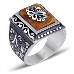 Hareli Sıkma Kehribar Taşlı Erzurum El İşi Gümüş Yüzük