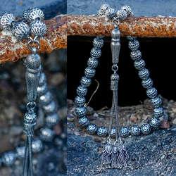 İşlemeli 925 Ayar Gümüş Tesbih