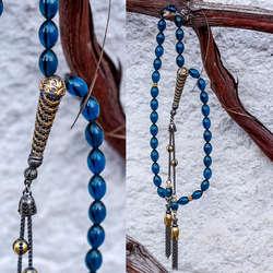 İşlemeli Gümüş İmame Tasarımlı Mavi Sıkma Kehribar Tesbih