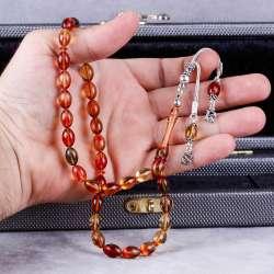 İsme Özel Gümüş Harf Püsküllü Sıkma Kehribar Tesbih