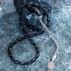Kapsül Model Gümüş İşlemeli Oltu Tesbih