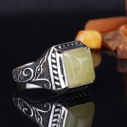 Kehrüba Serisi - Kare Kesim Has Kehribar Taşlı Gümüş Yüzük