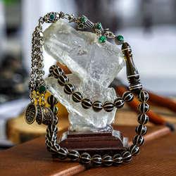 Karpuz Dilim Gümüş İşleme Sıkma Kehribar Tesbih