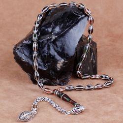 Karpuz Dilim Gümüş İşlemeli Sıkma Kehribar Tesbih