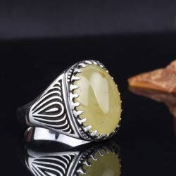 Kehrüba Serisi - Oval Kesim Damla Kehribar Taşlı Gümüş Yüzük