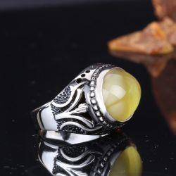 Kehrüba Serisi - Ters Oval Kesim Damla Kehribar Gümüş Yüzük