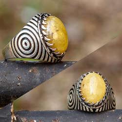 Kehrüba Serisi - Tırnaklı Oval Kesim Has Kehribar Taşlı Gümüş Yüzük