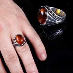 Kehrübar Serisi | Damla Kehribar Taşlı Gümüş Yüzük