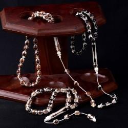 Kemik Üzerine Kuka, Boynuz, Abanoz İşlemeli Üçlü Tesbih Seti