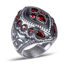Kırmızı Zirkon Taşlı Kalemkar İşi Sultan Yüzüğü
