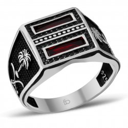 Kırmızı Zirkon Taşlı Palmiye Motifli Gümüş Yüzük