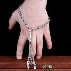 Kişiye Özel İsimli İşlemeli 925 Ayar Gümüş Tesbih