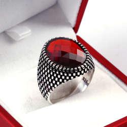Kristal Kızıl Zirkon Taşlı 925 Ayar Gümüş Yüzük