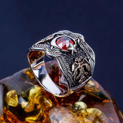 Lal Taşlı Selçuklu Kartalı Gümüş Yüzük