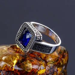 Mavi Zirkon Taşlı 925 Ayar Gümüş Yüzük