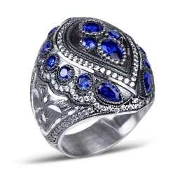 Mavi Zirkon Taşlı Kalemkar İşi Sultan Yüzüğü