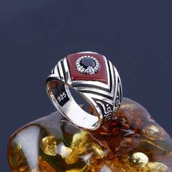 Oniks Montürlü Akik Taşı 925 Ayar Gümüş Yüzük