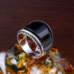 Oniks Taşlı Zirkon Tasarım 925 Ayar Gümüş Yüzük