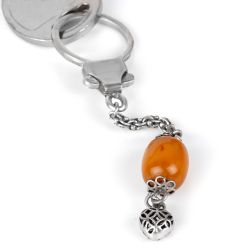 Osmanlı Kehribar 925 Ayar Gümüş Anahtarlık