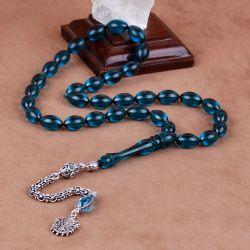 Osmanlı Sancağı Tasarım Mavi Kehribar Tesbih