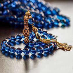 Özel Zirkon Tasarımlı Mavi Sıkma Kehribar Tesbih