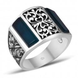 Sıkma Kehribarı Erzurum El İşi Gümüş Yüzük