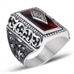 Sıkma Ateş Kehribarı Erzurum El İşi Gümüş Yüzük