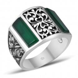 Sıkma Yeşil Kehribarı Erzurum El İşi Gümüş Yüzük