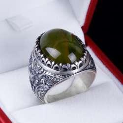 Sıkma Kehribar Taşlı Erzurum El İşi Gümüş Yüzük