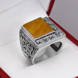 Sıkma Kehribar Taşlı Erzurum İşi Gümüş Yüzük