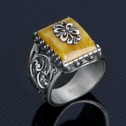 Sıkma Kehribar Taşlı Kalemkar Gümüş Yüzük